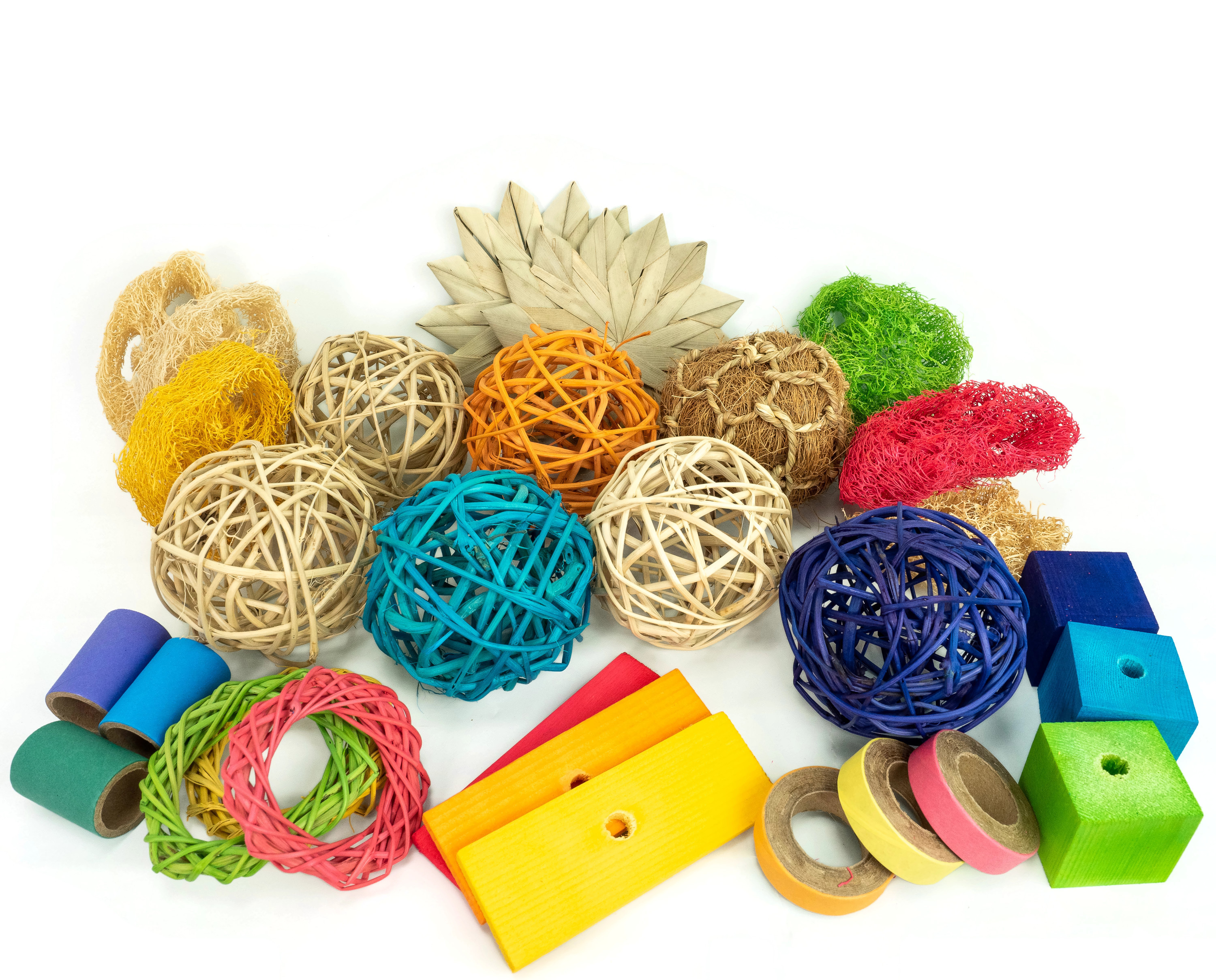 Colorful Multi-toy Collection - Chew Toys for Bunny Rabbits, Guinea Pigs and Chinchillas