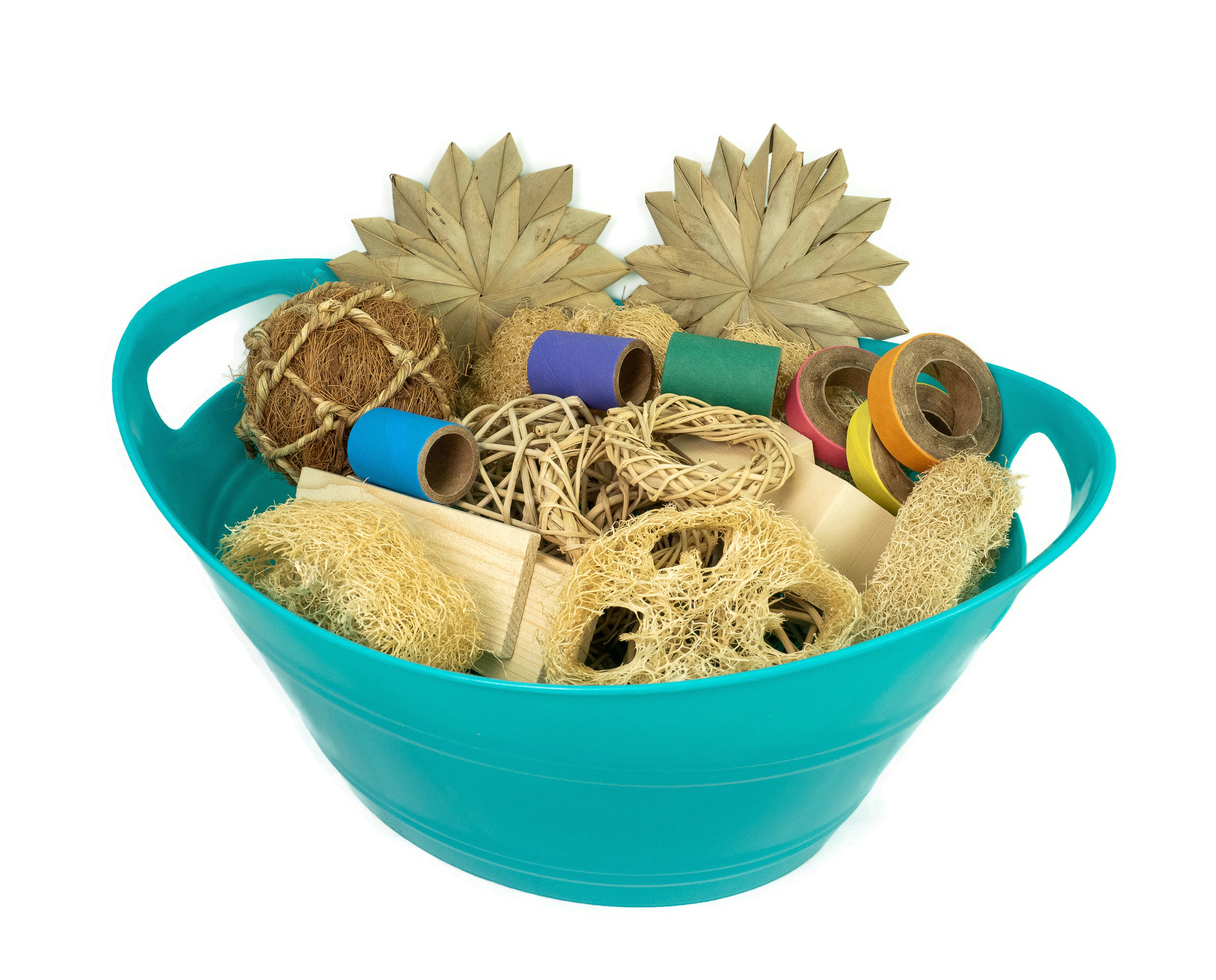 Natural Basket of Chew Toys - For Bunny Rabbits, Guinea Pigs and Chinchillas