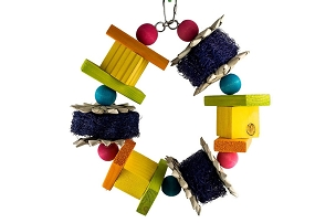 Rainbow Wreath - Large Bird Toy, Also fun for Small Animals