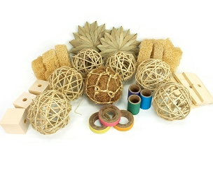 Natural Multi-toy Collection - Chew Toys for Bunny Rabbits, Guinea Pigs and Chinchillas
