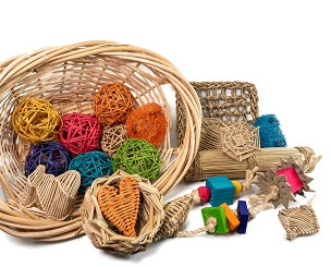 Giant Basket of Bunny Rabbit Toys - Chew Toys for Small Animals, Guinea Pigs and Chinchillas